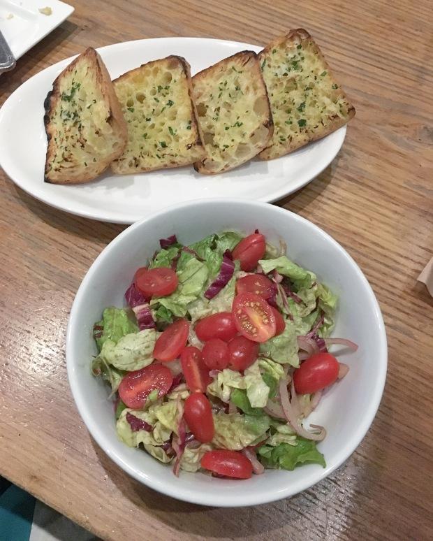 Vegan Cincinnati – Salad and Dairy-Free Garlic Bread From A Tavola Restaurant in Over-the-Rhine