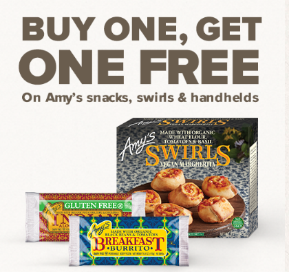 Snag This Rare Amy's Kitchen Coupon for Buy One Get One Free Vegetarian Snacks, Swirls and Handhelds